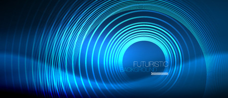 Neon glowing circles background, vector energy magic template Çizim