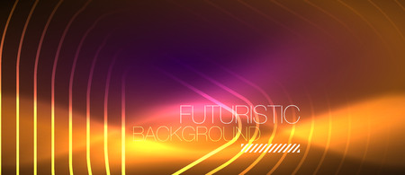 Color shiny neon lights background with abstract lines, magic energy concept 矢量图像