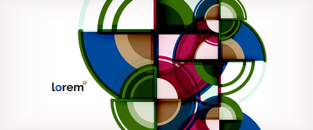 Circle abstract background, bright colorful round geometric shapes, vector illustration