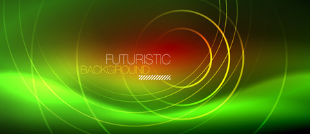 Neon glowing techno lines, hi-tech futuristic abstract background template with square shapes, vector