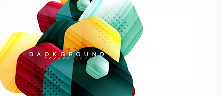 Glossy color hexagons modern composition background, shiny glass design
