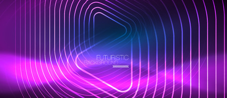 Neon blue color glowing techno lines, hi-tech futuristic abstract background template with geometric shapes, vector illustration