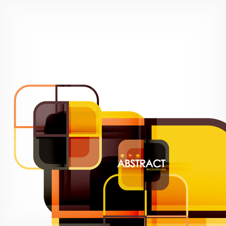Colorful round squares modern geometric background, vector illustration