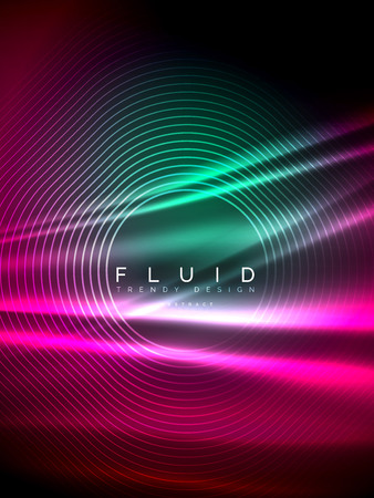 Neon glowing wave, magic energy and light motion background. Vertical orientation 向量圖像