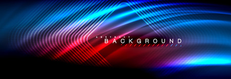 Neon glowing fluid wave lines, magic energy space light concept, abstract background wallpaper design, vector illustration Illustration