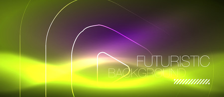 Color shiny neon lights background with abstract lines, magic energy concept Vettoriali