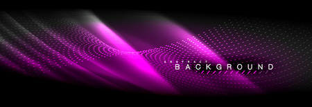 Liquid neon flowing waves, glowing light lines background. Trendy abstract layout template for business or technology presentation, internet poster or web brochure cover, wallpaper. Vector illustration