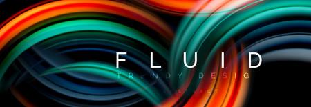 Mixing color waves on black, liquid flowing shapes, vector fluid trendy design