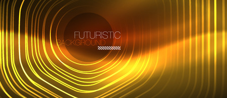 Neon glowing wave, magic energy and light motion background. Vector design wallpaper template