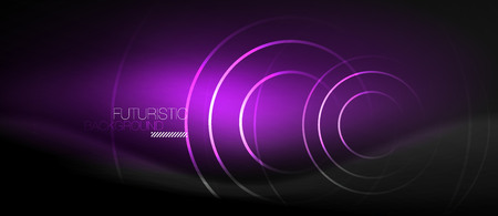 Dark abstract background with glowing neon circles, vector