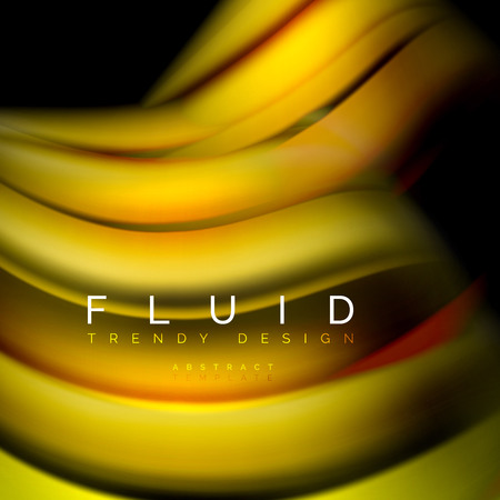 Background abstract - liquid color wave, trendy flowing design template Çizim