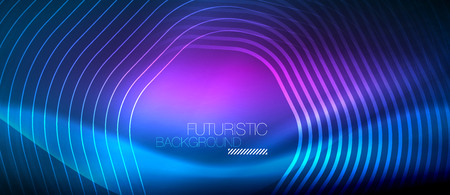 Neon blue glowing lines, magic energy space light concept, abstract background wallpaper design, vector illustration  イラスト・ベクター素材