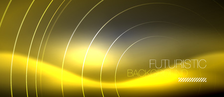 Neon circles abstract background, shiny lines, vector techno design Foto de archivo - 127144060
