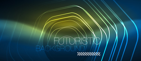 Neon glowing lines, magic energy space blue light concept, abstract background wallpaper design, vector illustration 矢量图像