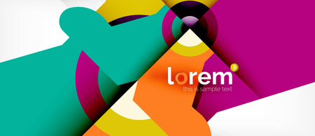 Geometric colorful shapes composition abstract background. Minimal dynamic design. Trendy abstract layout template for business or technology presentation or web brochure cover, wallpaper. Vector illustration