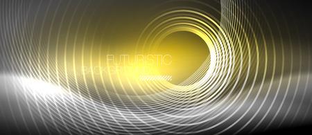 Neon circles abstract background, shiny lines, vector techno design Vecteurs