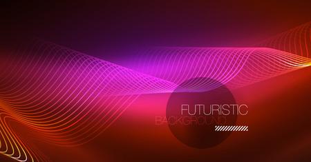 Neon lines wave background. Vector abstract composition Ilustração