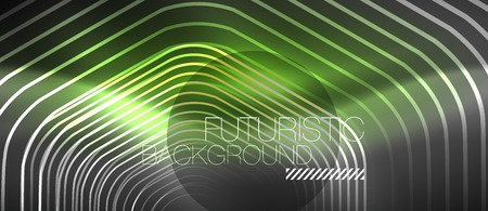 Black and glowing color lines neon design, magin techno template background, vector Illustration