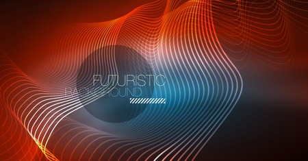 Neon lines wave background. Vector abstract composition 向量圖像