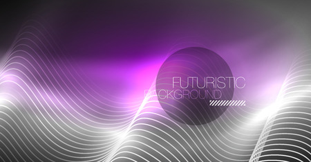 Neon lines wave background. Vector abstract composition  イラスト・ベクター素材