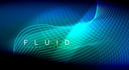 Líneas de onda de fluido brillante de neón, concepto de luz de espacio de energía mágica, diseño de papel tapiz de fondo abstracto, ilustración de textura de ondulación vectorial