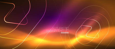 Color shiny neon lights background with abstract lines, magic energy concept Illustration