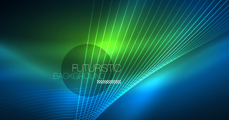 Neon glowing magic background, neon banner, night sky wallpaper. Magic light vector effect. Christmas abstract pattern.