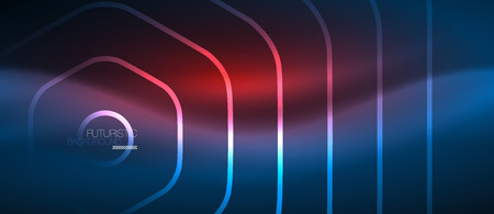 Neon Glowing Lines Magic Energy Space Blue Light Concept Abstract