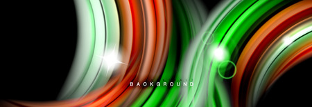 Background abstract design, flowing mixing liquid color waves on black, vector illustration