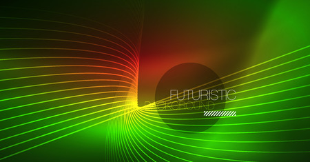 Digital technology abstract background - neon geometric design. Abstract glowing lines. Colorful techno background. Futuristic shape.