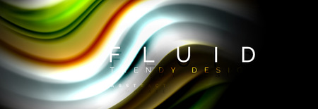 Abstract liquid colorful banner. Trendy vector wavy dynamic design. Fluid color shapes.