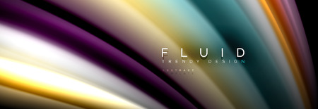Abstract liquid colorful banner. Trendy vector wavy dynamic design. Fluid color shapes. 일러스트