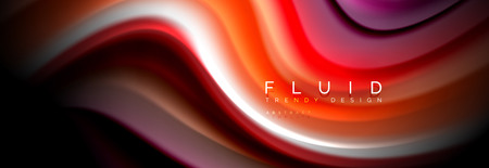 Abstract liquid colorful banner. Trendy wavy dynamic design. Fluid color shapes.