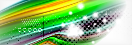 Abstract wave lines liquid fluid rainbow style color stripes background. Artistic illustration for presentation, app wallpaper, banner or poster