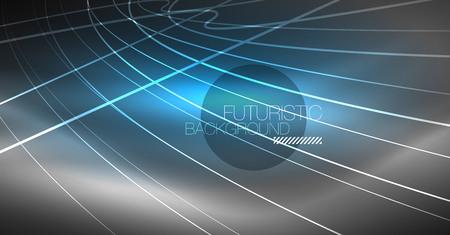 Abstrait de la technologie numérique - dessin géométrique au néon. Lignes lumineuses abstraites. Fond de vecteur techno coloré. Forme futuriste.