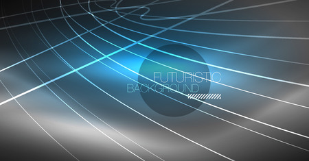 Digital technology abstract background - neon geometric design. Abstract glowing lines. Colorful techno vector background. Futuristic shape.