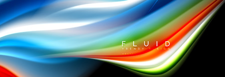 Abstract liquid colorful banner. Trendy wavy dynamic design. Fluid color shapes. 版權商用圖片 - 114904306