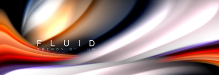 Bright colorful liquid fluid lines on black, vector modern abstract background Ilustração