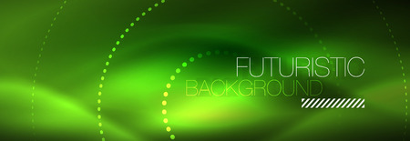 Green neon dotted circles background, vector illustration Иллюстрация