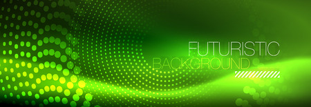 Green neon dotted circles background, vector illustration