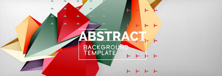 3d polygonal shape geometric background, triangular modern abstract composition. Vector techno or business template illustration Ilustração