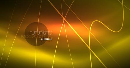 Neon leuchtender magischer Hintergrund, Neonbanner, Nachthimmeltapete. Magischer Lichtvektoreffekt. Weihnachten abstraktes Muster.