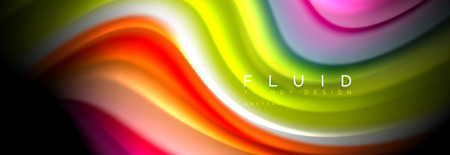 Bright colorful liquid fluid lines on black, modern abstract