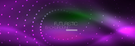 Vector purple neon dotted circle background, abstract template
