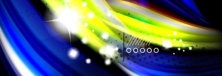 Rainbow color fluid wave lines flow poster. Wave vector Liquid shapes design Illustration