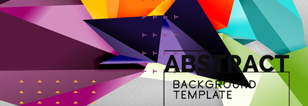 Mosaic triangular 3d shapes composition, geometric modern