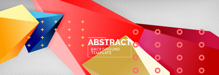 Bright colorful triangular poly 3d composition, abstract geometric background, minimal design, polygonal futuristic poster template
