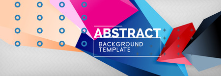 Bright colorful triangular poly 3d composition, abstract geometric background, minimal design, polygonal futuristic poster template Ilustracje wektorowe