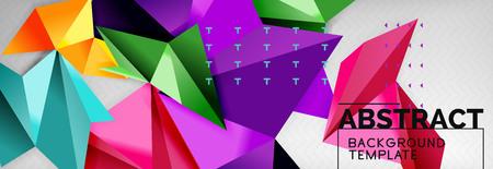 Composición de formas 3d triangulares de mosaico, fondo moderno geométrico. Diseño de triángulos y polígonos