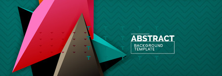 Vector 3d triangular shapes abstract background, origami futuristic template with lines Stock Illustratie